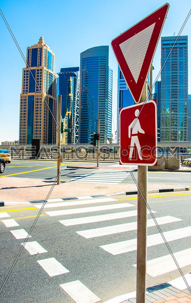 yield pedestrian sign dubai