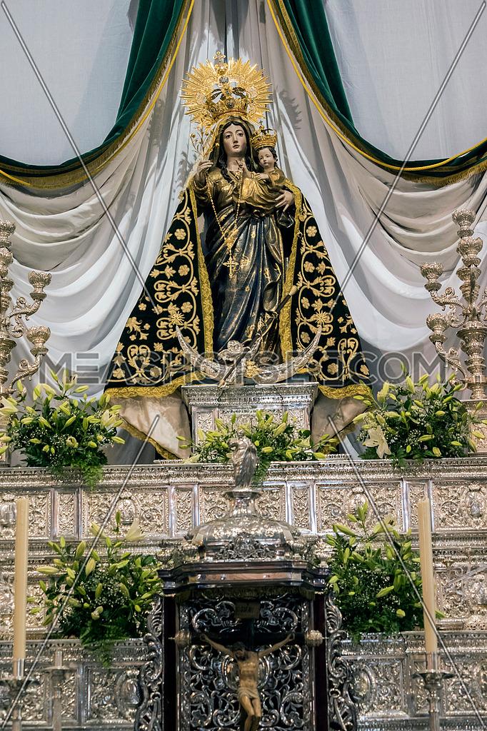 Vejer de la Frontera, Spain - August 13, 2018: Virgen de la Oliva, Patroness of Vejer de la frontera, work of Martin Alonso de Mesa y Villavicienso, Cadiz, Spain
