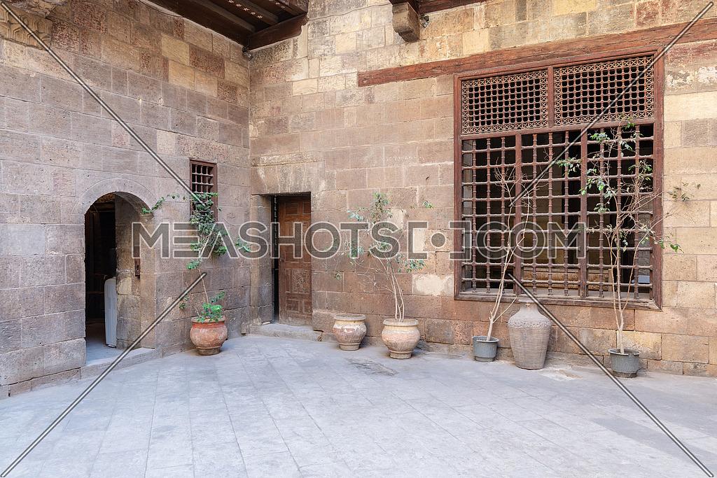 Facade of Zeinab Khatoun historic house, located near to Al-Azhar Mosque in Darb Al-Ahmar district, Old Cairo, Egypt