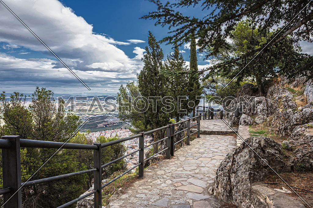 Jaen, Spain - October 23, 2016: Panoramic view of the city from the castle of Santa Catalina, taken in Jaen, Andalucia, Spain