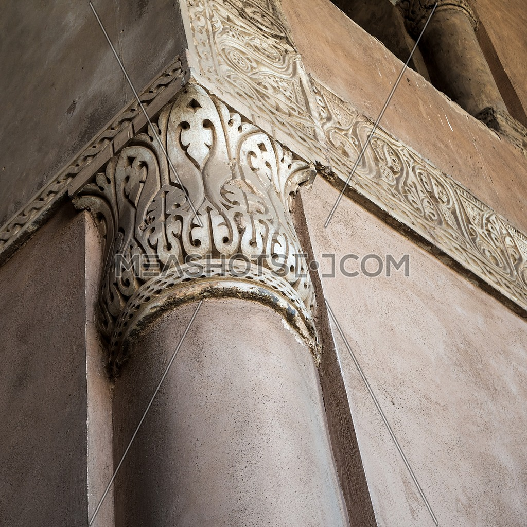 Close up of decorative column capital at Ibn Tulun historic public mosque, Cairo, Egypt