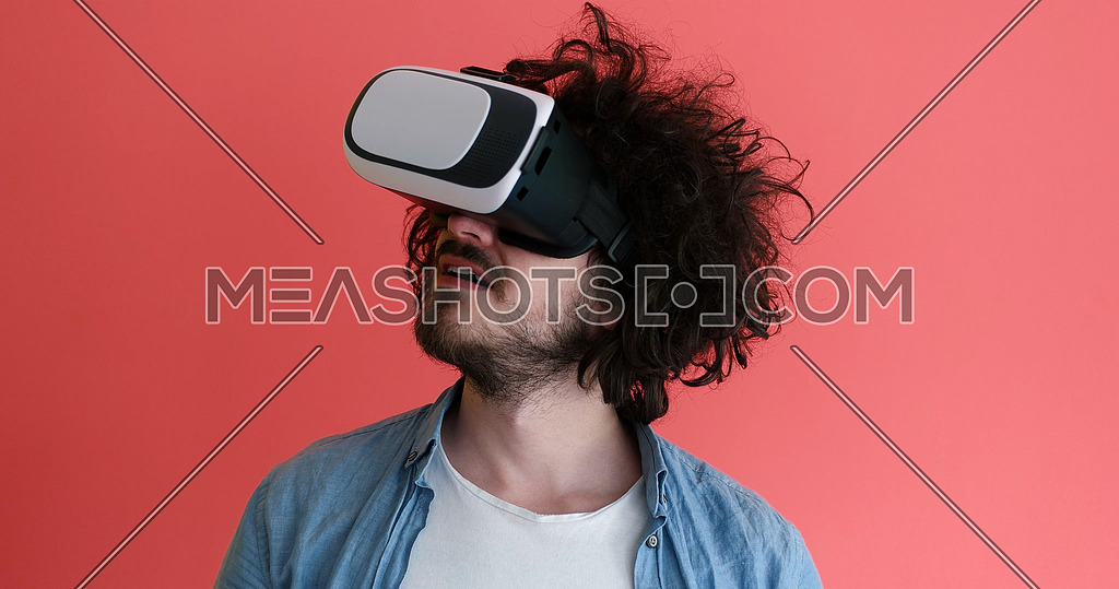 young man using VR headset glasses of virtual reality 167830