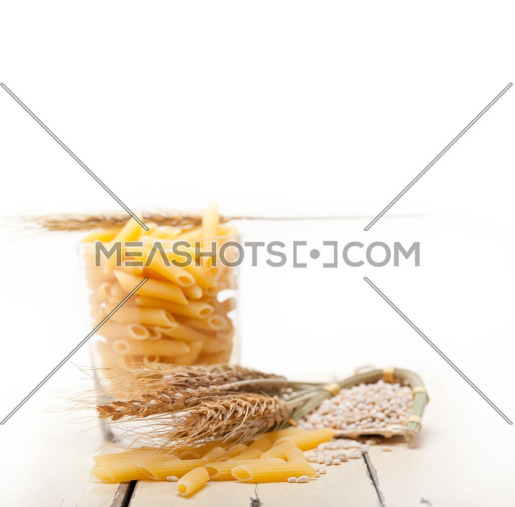 short Italian pasta penne with durum wheat grains