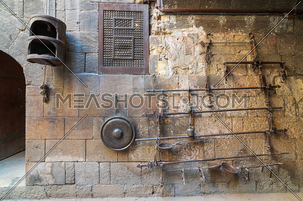 Old copper scale located at the courtyard of Bayt el Kredlea, also knows as Gayer Anderson house, adjacent to Mosque of Ahmad ibn Tulun, Sayyida Zeinab neighborhood, Cairo, Egypt