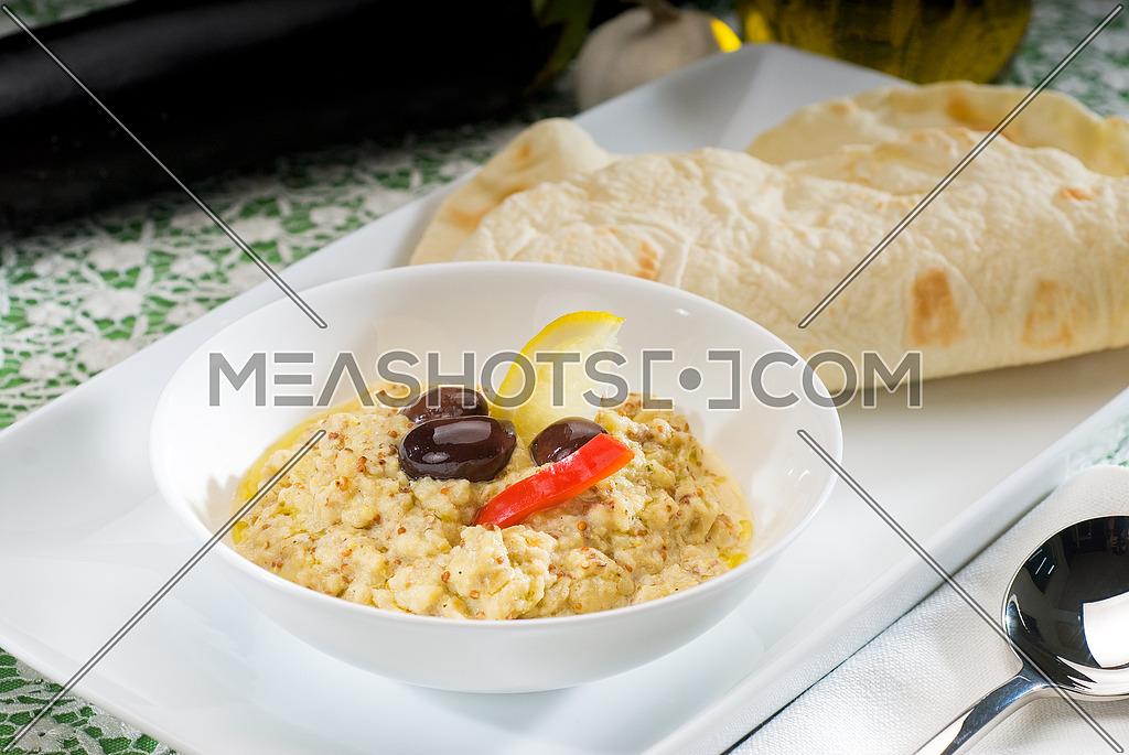 fresh homemade Badingian mutabbal Baba Ghanoush,traditional middle eastern dish