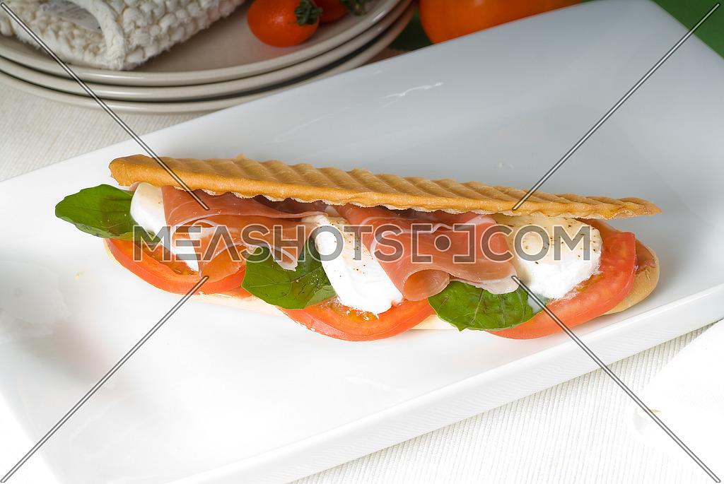 panini sandwich with fresh caprese and parma ham