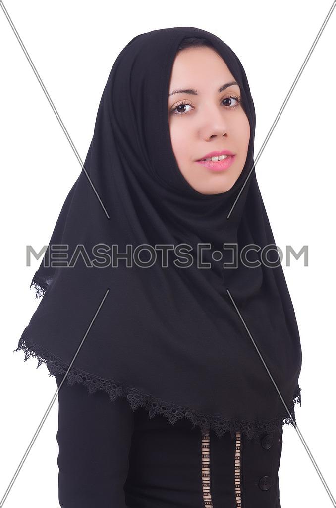 Muslim woman praying isolated on white