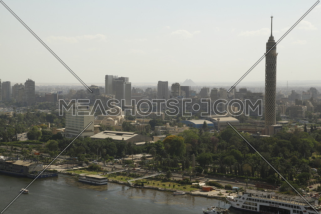 Long shot by the Nile of the Cairo Tower