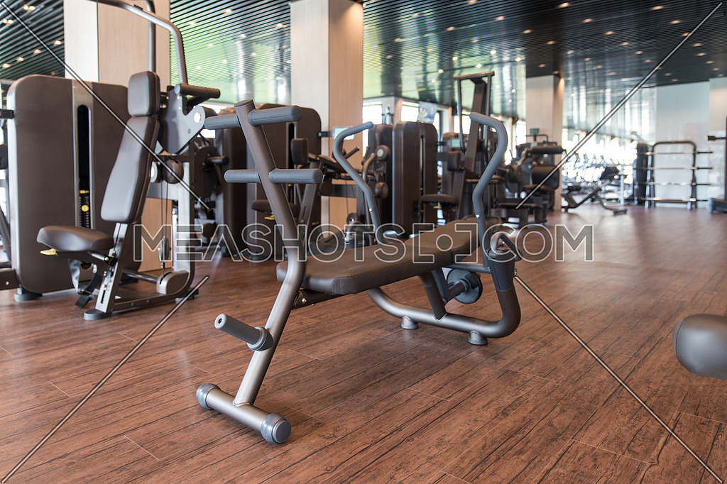 Interior of new modern gym with equipment meashots