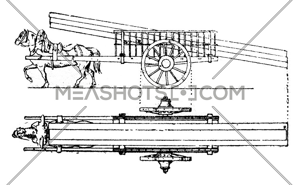 Cladding of wooden pieces on a flatbed truck, vintage engraved illustration.