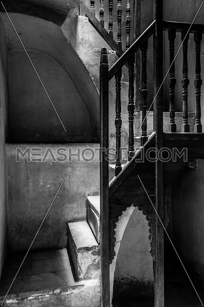 black and white interior stairs of el sehemy historic old house in cairo egypt