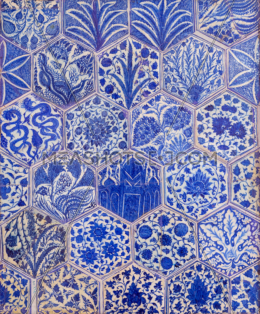 Photo For Ottoman Era Style Glazed Ceramic Tiles Decorated With