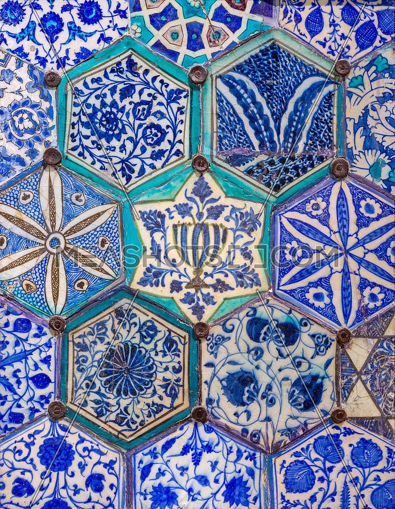 Mamluk era glazed ceramic tiles decorated with floral ornamentat ...
