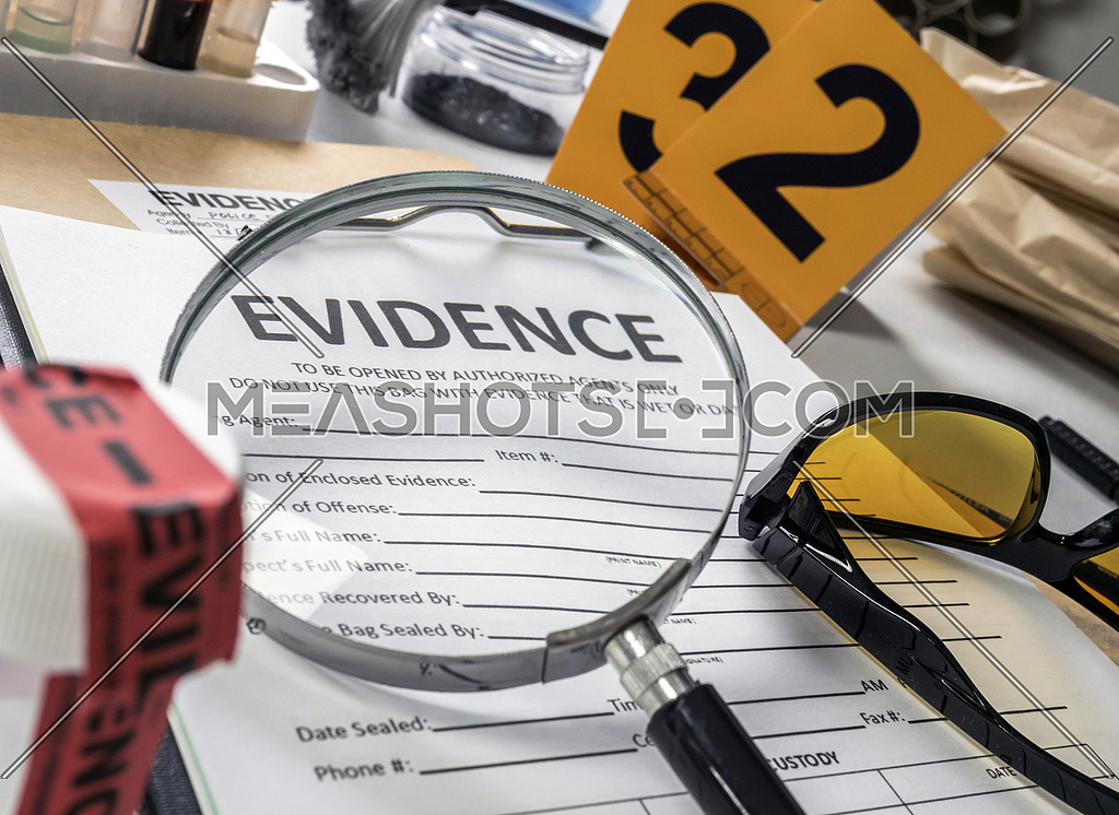 Basic Research Utensils With A Evidence Bag In Laboratorio Forensic Equipment Conceptual Image 227151 Meashots