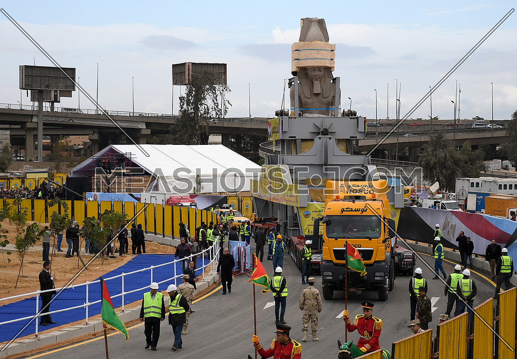King Ramses II Statue on Transferring process to the Grand Egyptian Museum in Cairo showing big transfer machine carrying the statue. on 25 January 2018