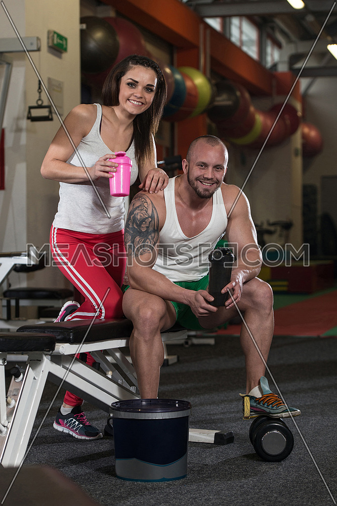 Couple Posing With Supplements For Copy Space 100861 Meashots