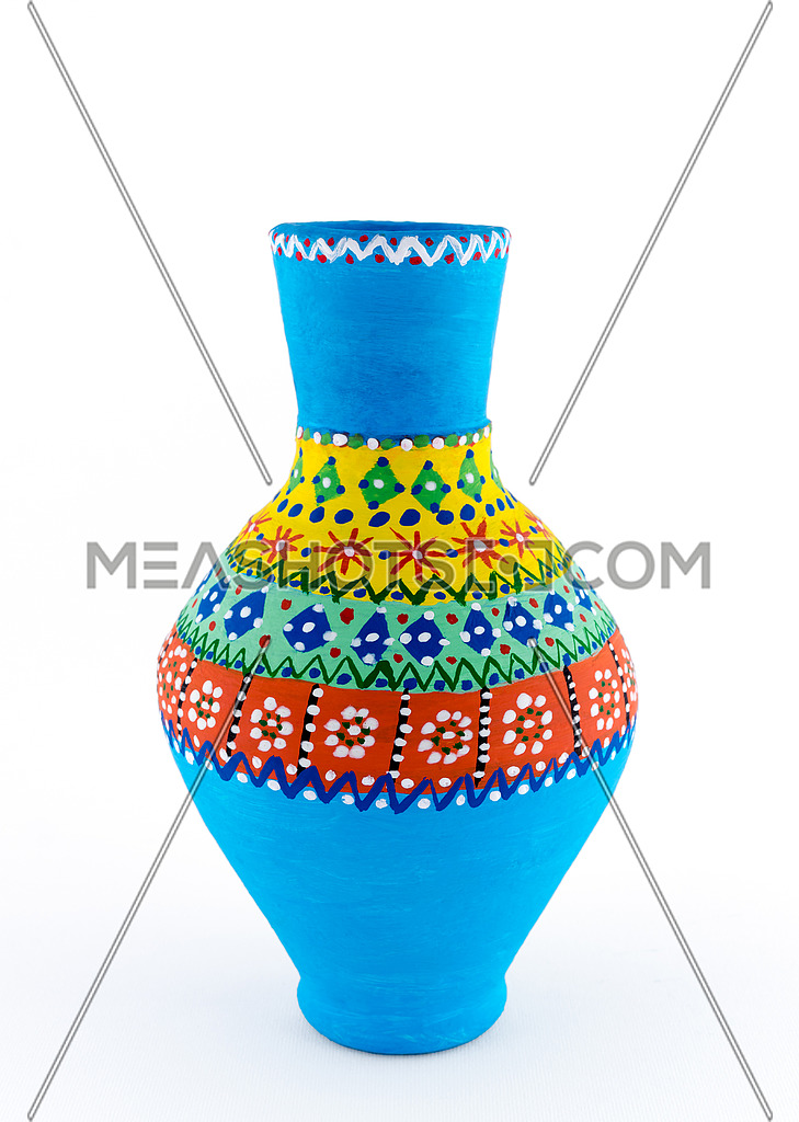 An Egyptian decorated colorful pottery vessel (arabic: Kolla) made of clay, one of the oldest habits of the Ancient Egyptians