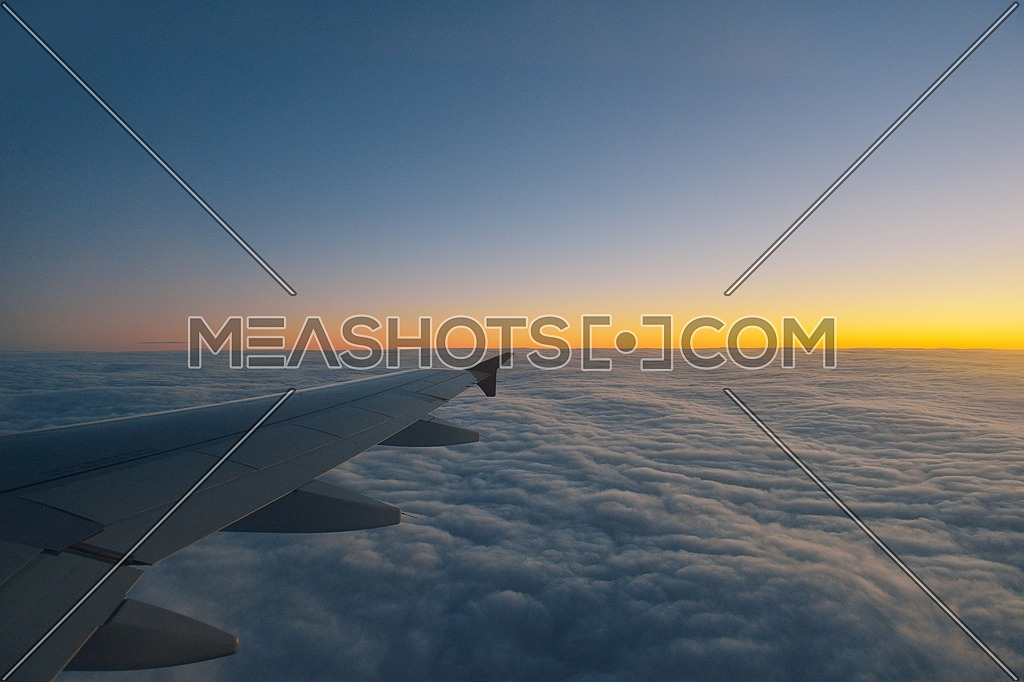 clouds skyline with sunset on horizon