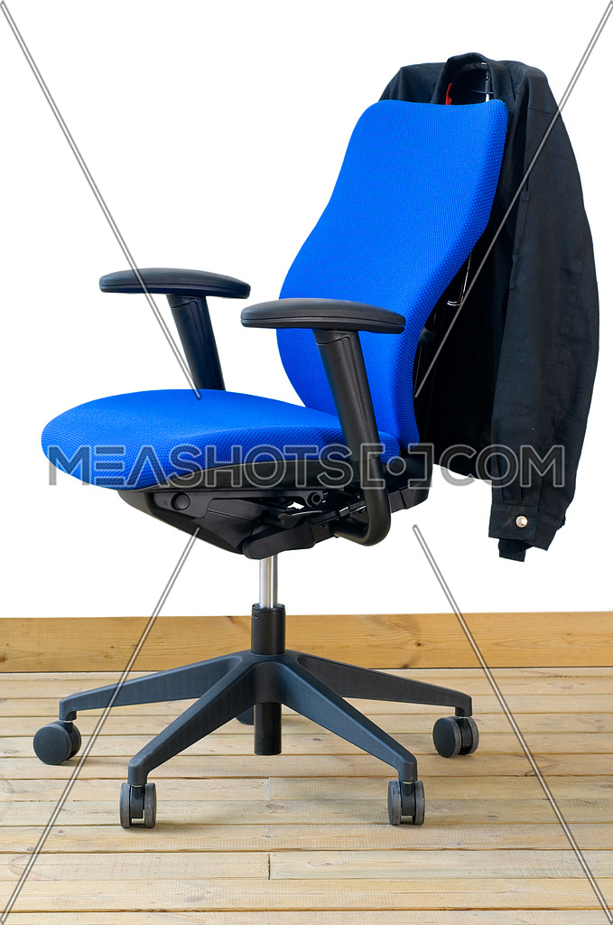 Photo For Modern Blue Office Chair On Wood Floor Over White