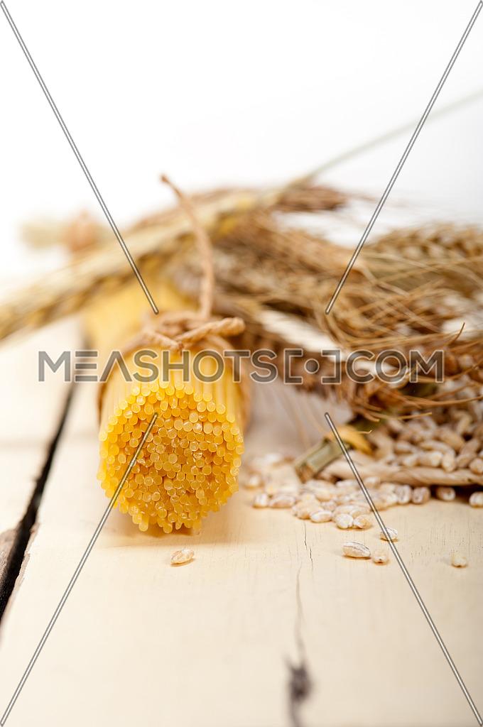 organic Raw italian pasta and durum wheat grains crop