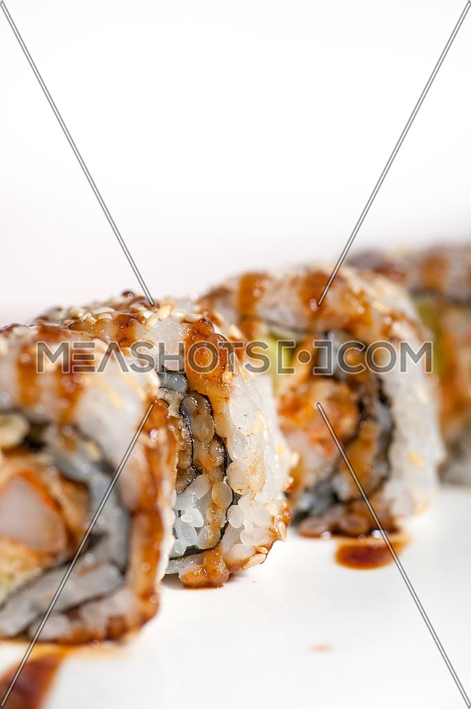 macro closeup of fresh sushi choice combination assortment selection