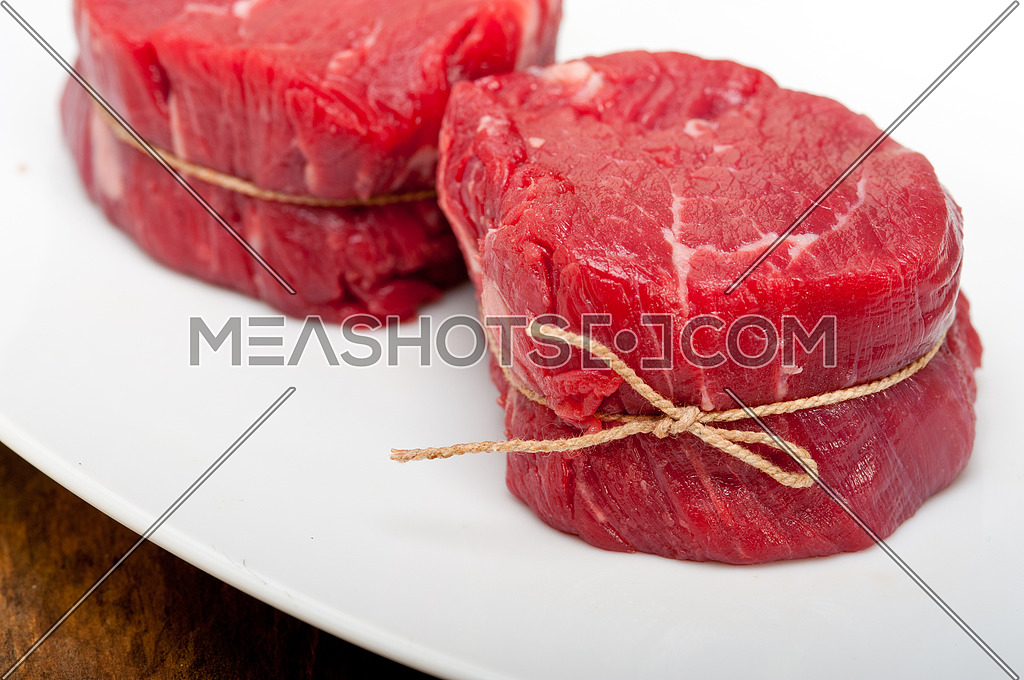 fresh raw beef filet mignon cut ready to cook