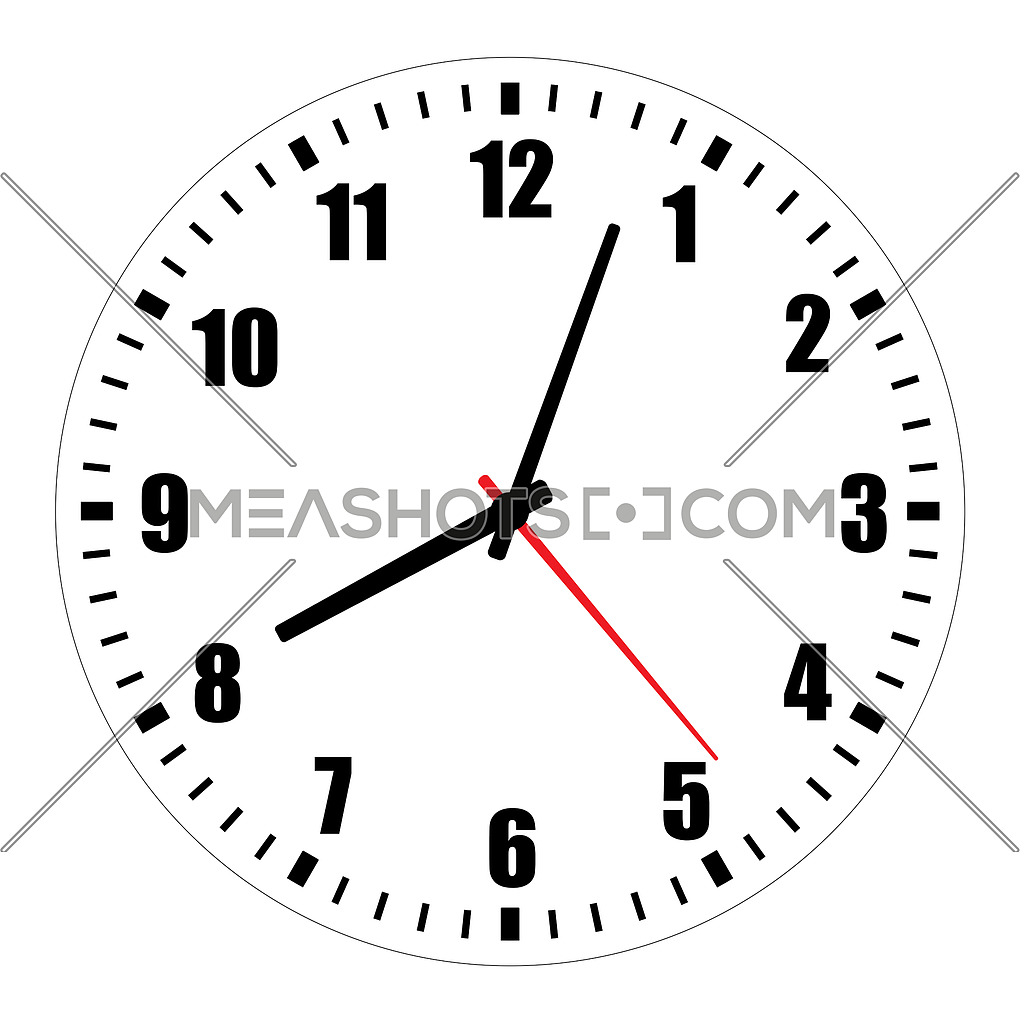 Blank clock face illustration on white-213512 | Meashots