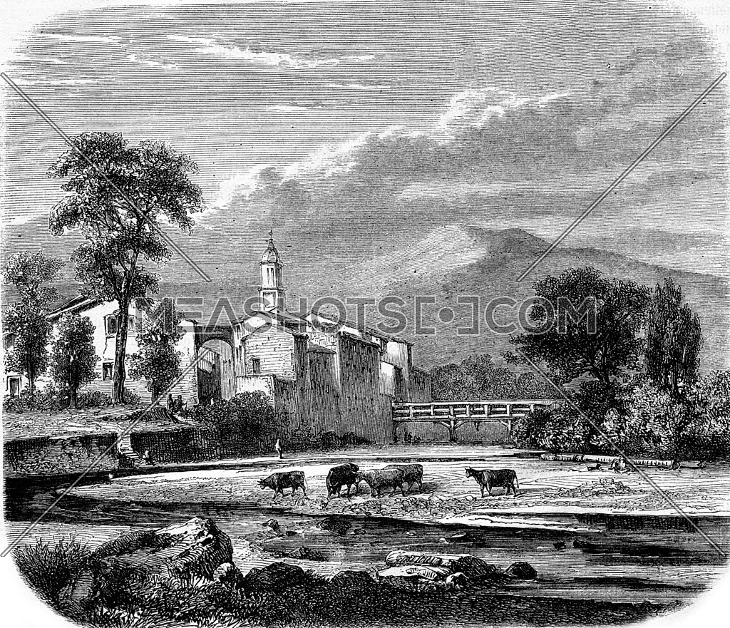 Borghetto, Piedmont, vintage engraved illustration. Magasin Pittoresque 1867.