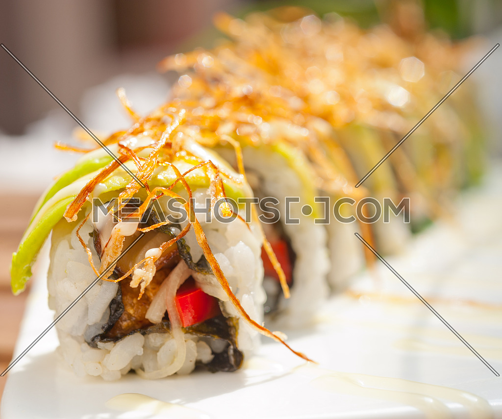 fresh made Japanese sushi rolls called Maki Sushi