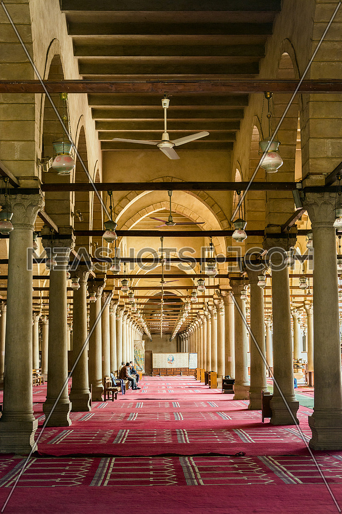 interior praying area in Amru ibn Elaas Mosque in cairo egypt