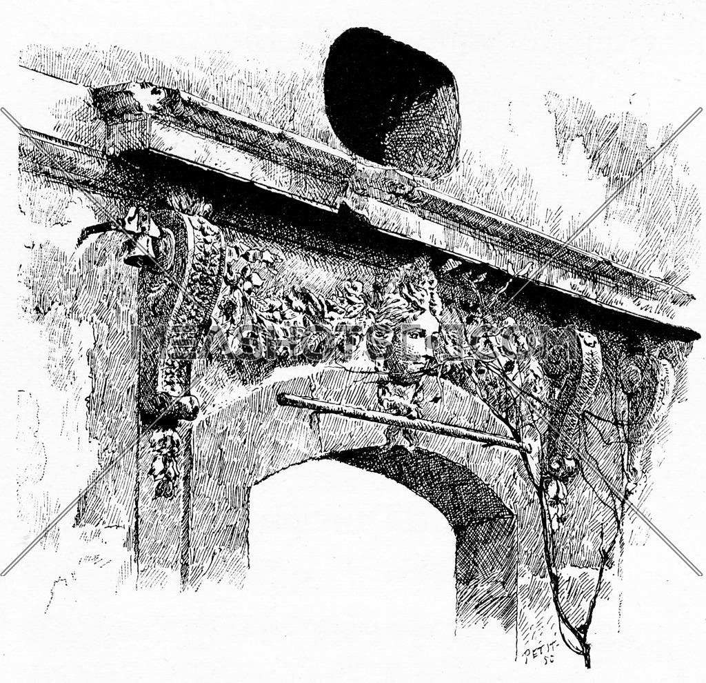 Sculpture of the former hunting lodge, vintage engraved illustration. Paris - Auguste VITU – 1890.