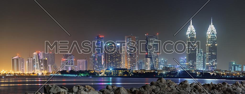 Dubai Towers Skyline at night