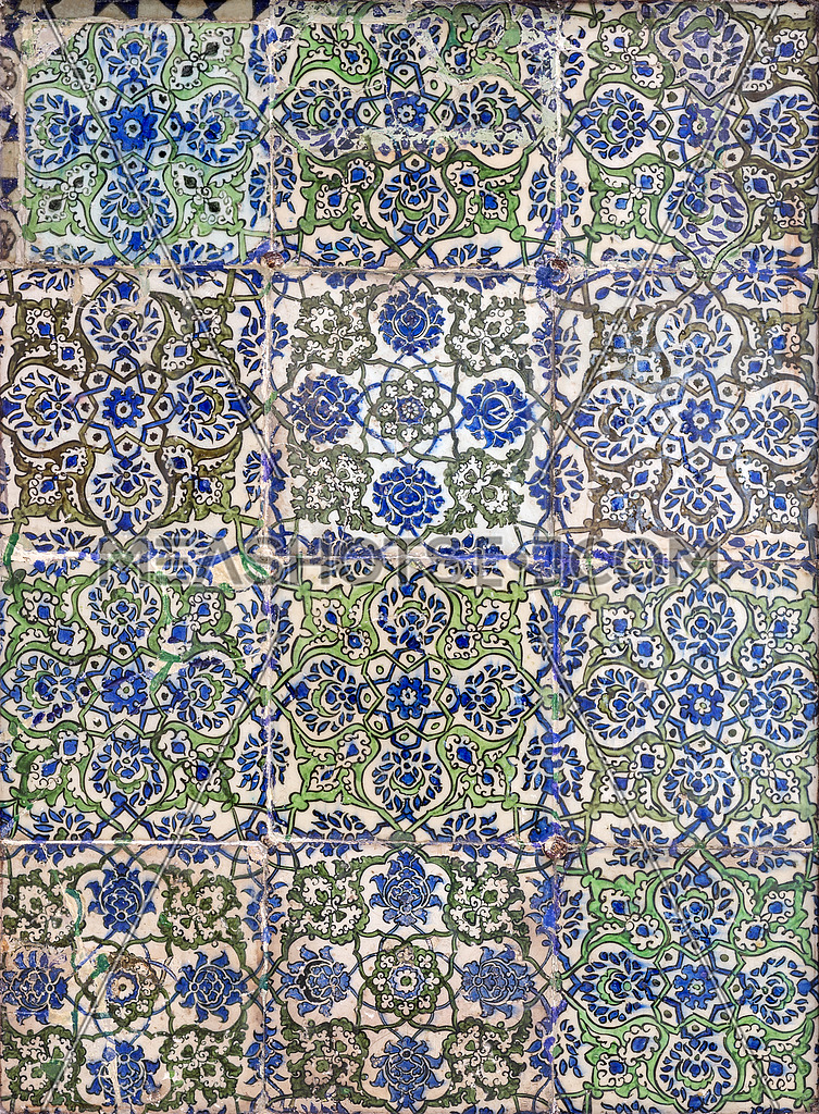Ottoman Era Style Glazed Ceramic Tiles Decorated With Floral