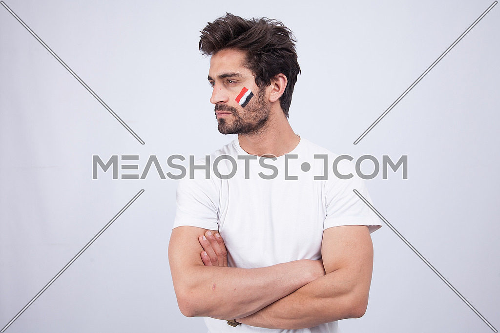 a young man with a white t-shit on a white background