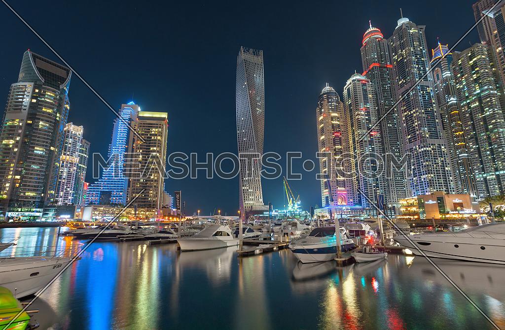 Dubai Marina Skyline Night View