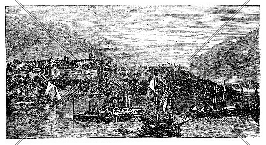 West Point Island or Albatross Island, during the 1890s, vintage engraving. Old engraved illustration of West Point Island with moving ships in front.