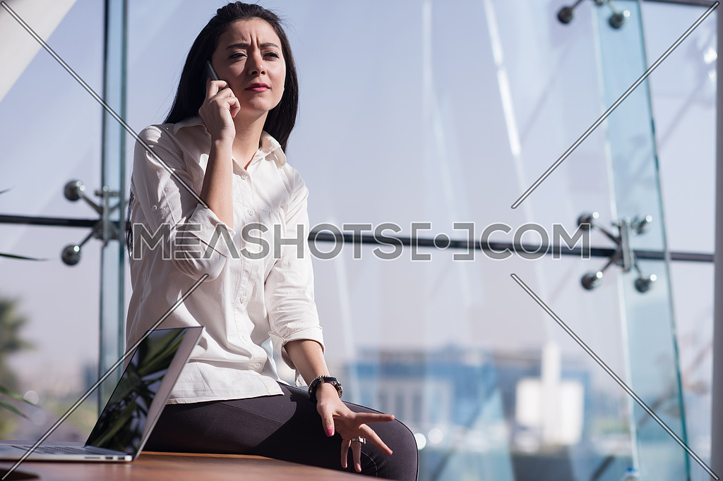 Young female executive having a business call in the office