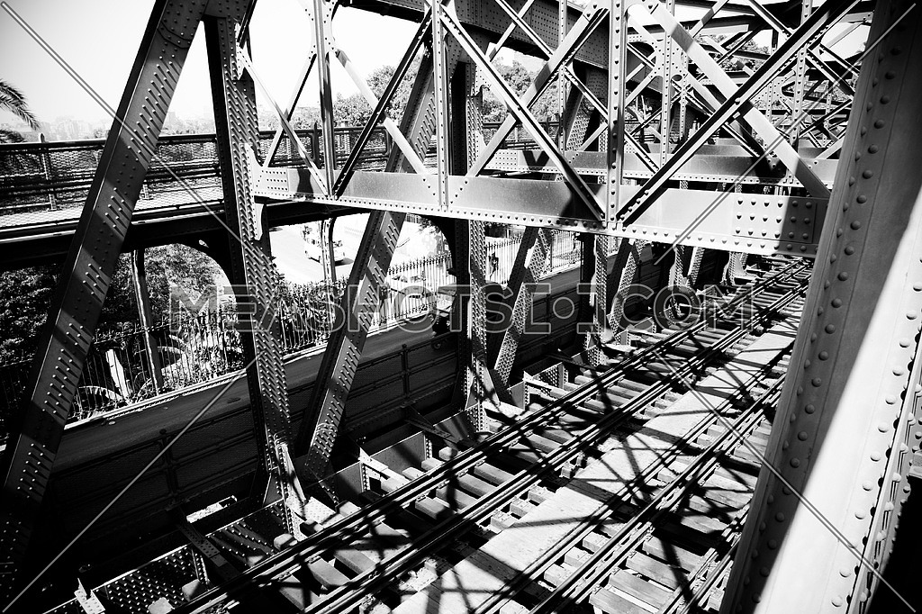 Vintage Cairo.. Black & white photoset from the bridge of Imbaba; the only railway bridge across the Nile in Cairo, was built in 1912 & 1924 in Egypt