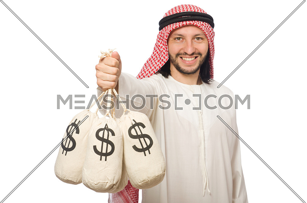 Arab businessman with sacks of money