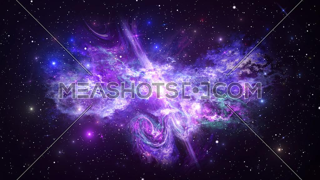 Universe with Galaxy, Stars and Colorful Nebula on Dark