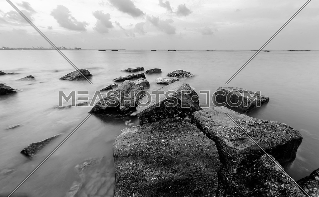 rocks by the mediteranian sea shore in Alexandria egypt