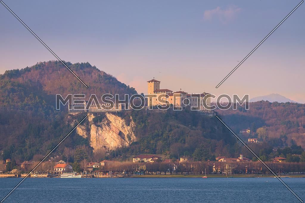 Fortress of Angera (Rocca di Angera), view from Arona, lake Maggiore, Italy.