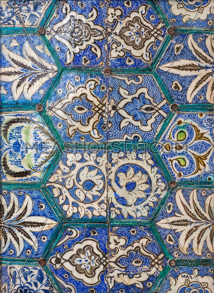 Mamluk era style glazed ceramic tiles decorated with floral ...
