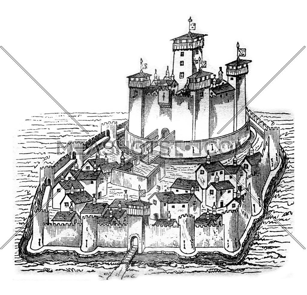 Chateau de la Pauleuze in Bourbonnais, after a manuscript of the fifteenth century, vintage engraved illustration. Magasin Pittoresque 1841.