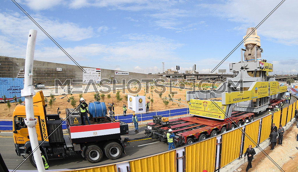 Panorama Shot forThe Statue of King Ramses II transferring machine while holding the statue on the way to the Grand Egyptian Museum in Cairo on 25 January 2018