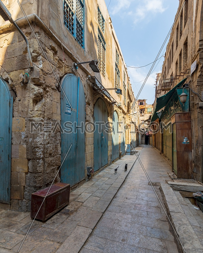 Alleys of old historic Mamluk era Khan al-Khalili famous bazaar and souq, with closed shops during Covid-19 lockdown, Cairo, Egypt