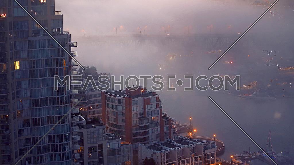 sunrise Vancouver city fog
