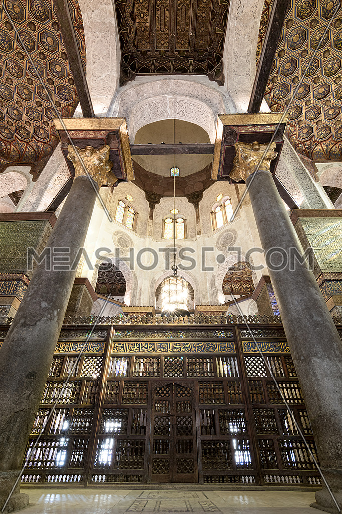 Mashrabiya screens surrounding the cenotaph in the mausoleum of Sultan Qalawun, built in 1285 AD, located in Al Moez Street, Old Cairo, Egypt
