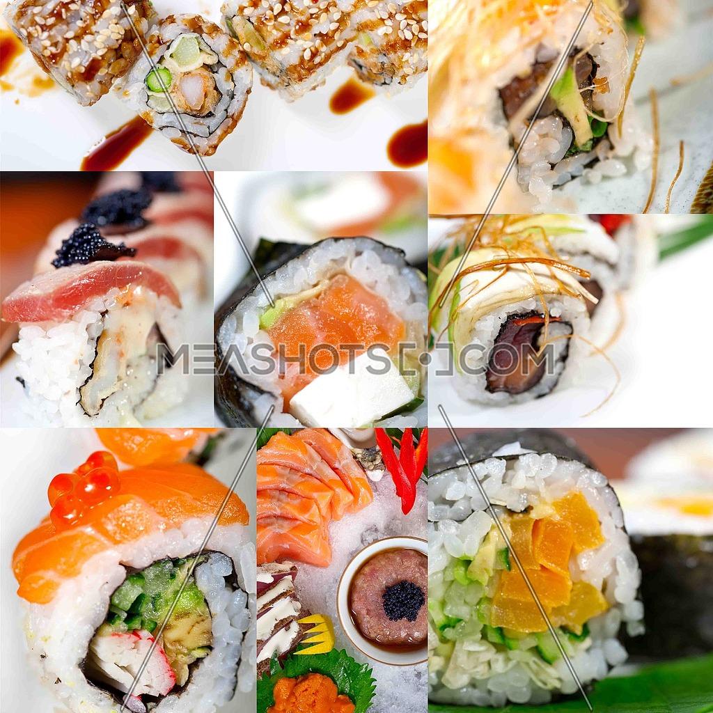 selection of many Japanese sushi dish collage over white frame