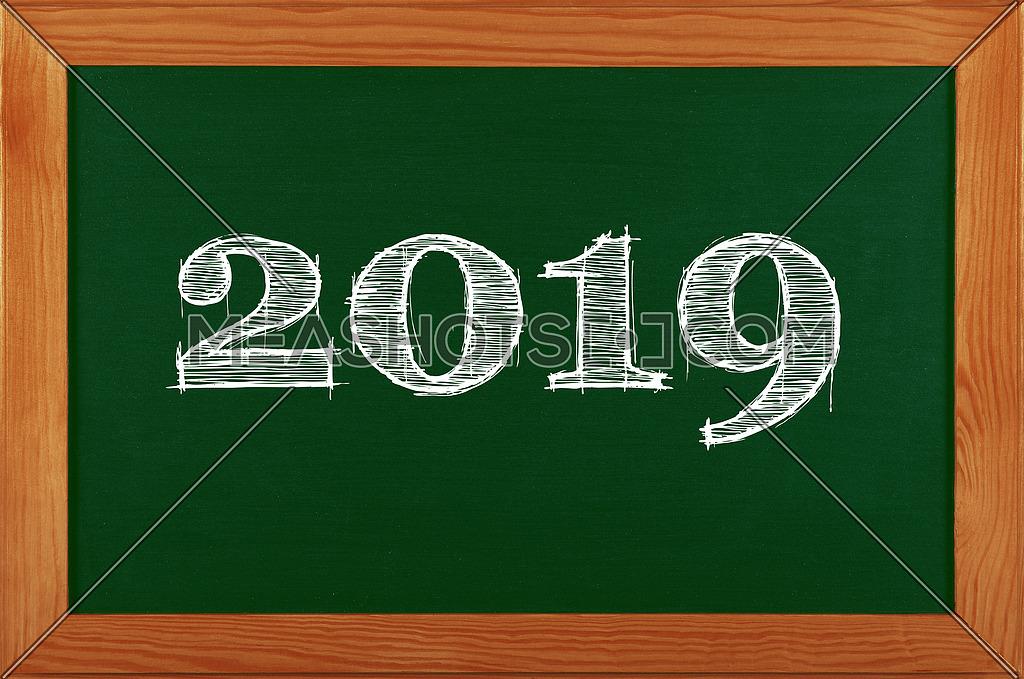 Green school chalkboard blackboard sign in brown wooden frame with 2019 chalk text